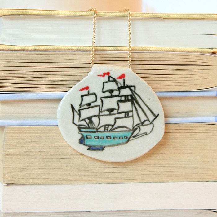 Glazed ship on silver chain - Ceramic Necklace